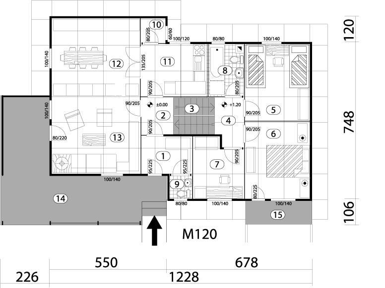 Montažna kuća TIP 105 mapa kuce