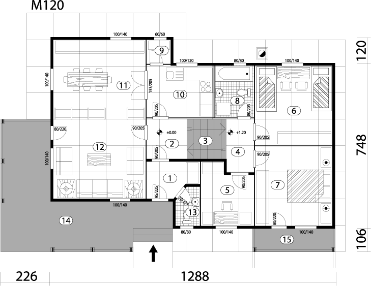 Montažna kuća TIP 110 mapa kuce