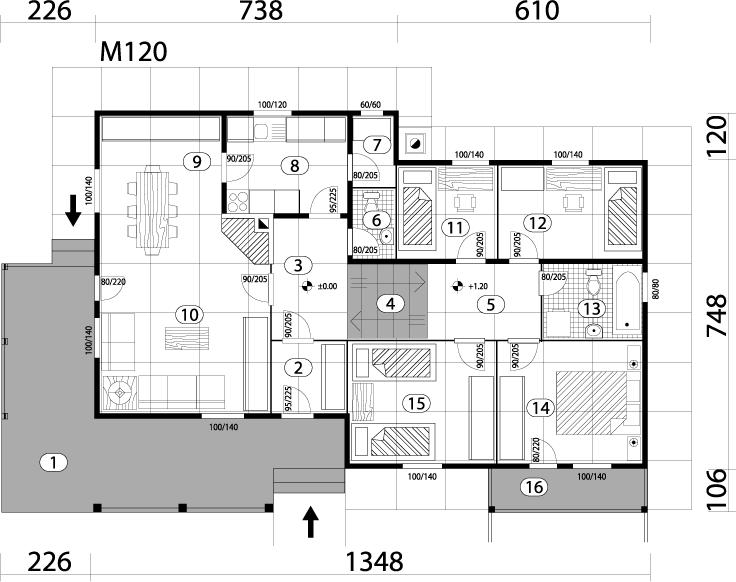 Montažna kuća TIP 117 mapa kuce