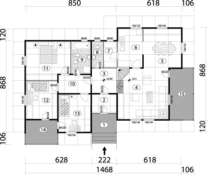 Montažna kuća TIP 127 mapa kuce