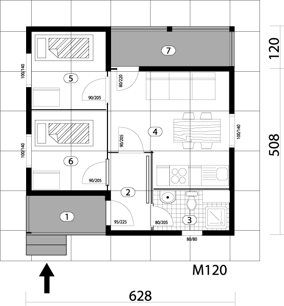 Montažna kuća TIP 35 mapa kuce