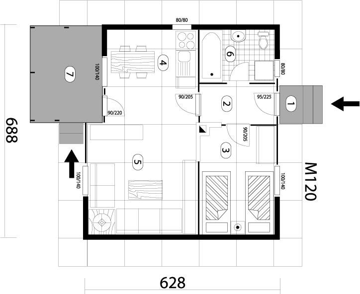 Montažna kuća TIP 44b mapa kuce
