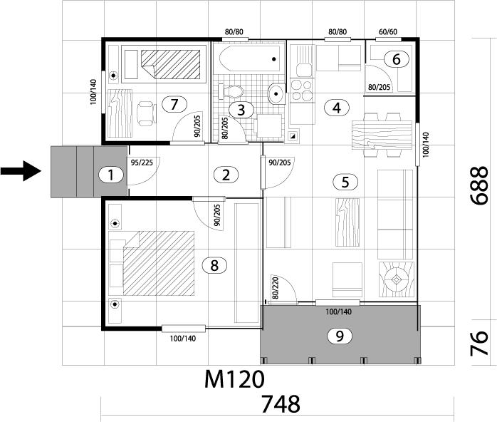 Montažna kuća TIP 52 mapa kuce