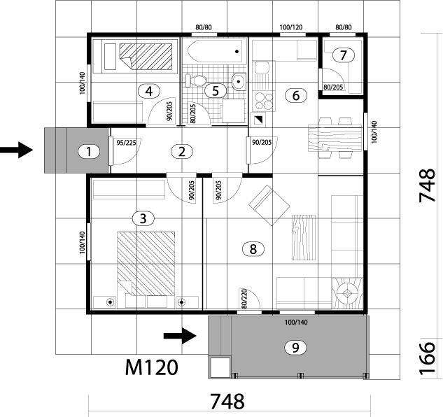 Montažna kuća TIP 59 mapa kuce