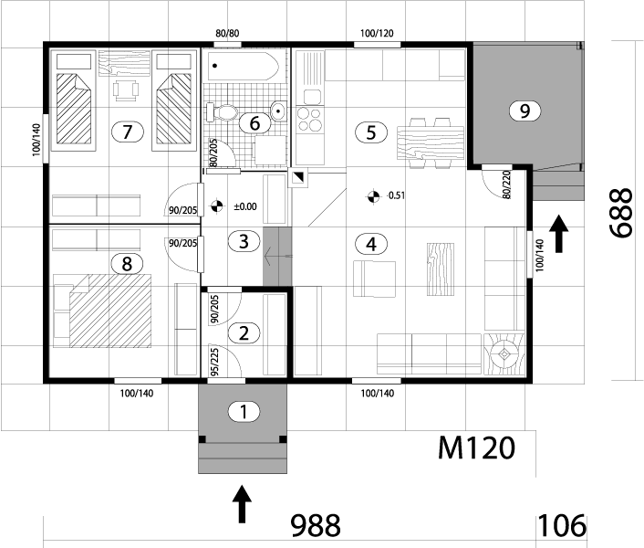 Montažna kuća TIP 68 mapa kuce