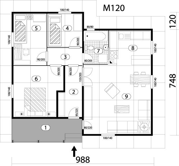 Montažna kuća TIP 77 mapa kuce