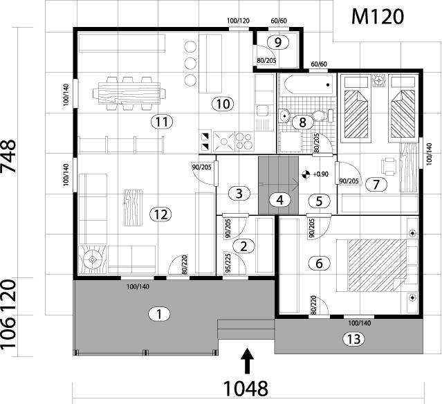 Montažna kuća TIP 86 mapa kuce