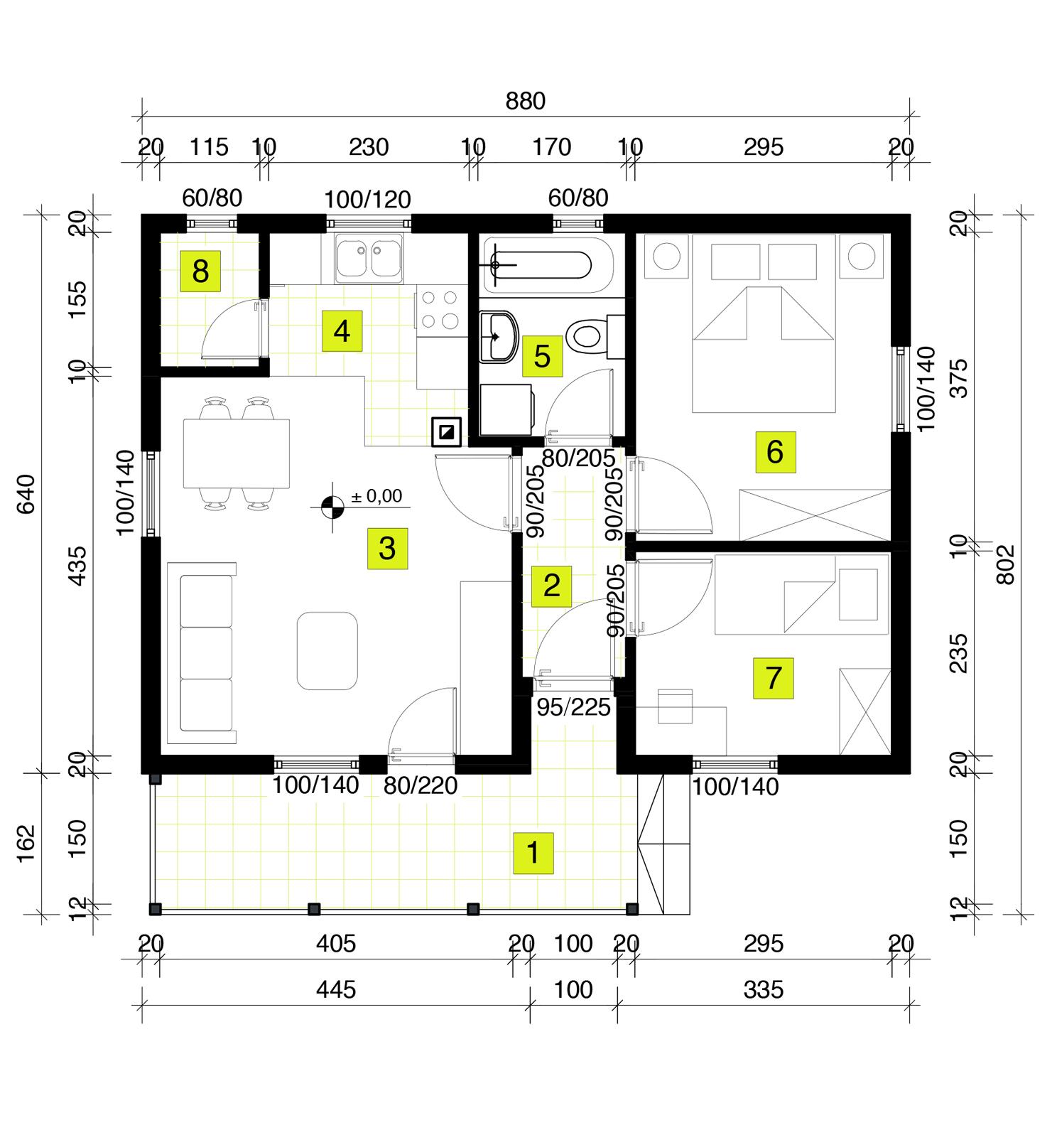 Montažna kuća TIP 57 mapa kuce