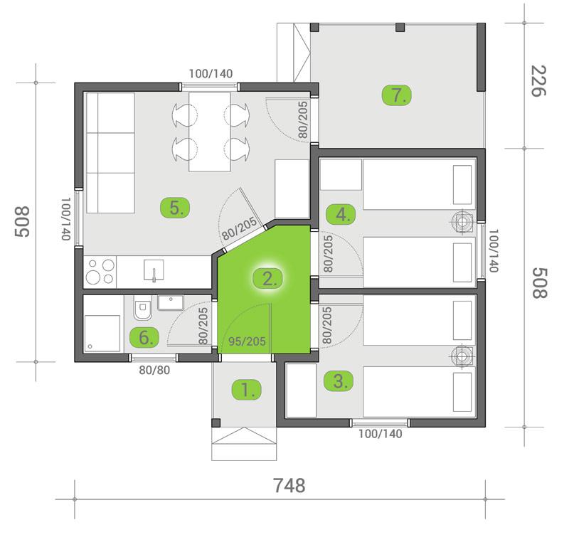 Montažna kuća TIP 44a mapa kuce