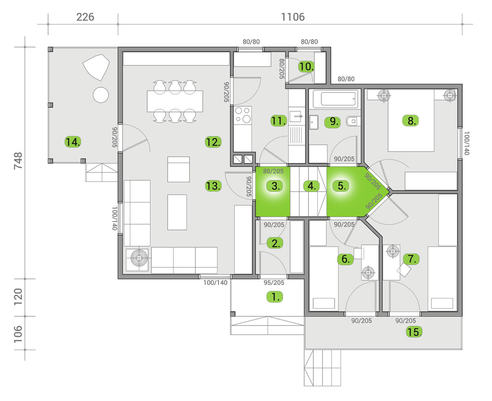 Montažna kuća TIP 90 mapa kuce